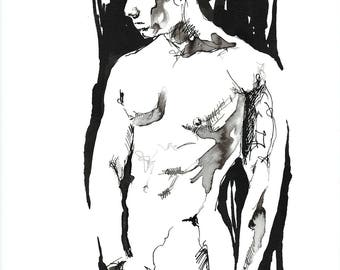 """Male Figure Drawing - Figure  10 - 9 x 12"""" ink on paper - original drawing by Brenden Sanborn"""