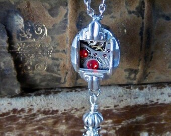 Steampunk necklace  - Ruby - Steampunk watch parts - Repurposed Art