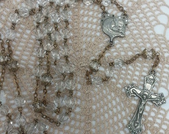 Prayer Beads Vintage Clear Glass Rosary with silvertone crucifix