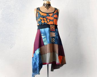 Upcycled Dress Colorful Patchwork Hippie Clothing Womens Boho Sundress Empire Waist Fit Flare Deconstructed Gypsy Dress Eco Wear S M 'HARPER