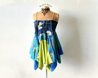 Denim Hippie Shirt Upcycle Dress Boho Chic Clothing Plus Size Women's Flowing Top Festival Clothes Stevie Nicks Tank Art Wear M L 'ADRIANA'