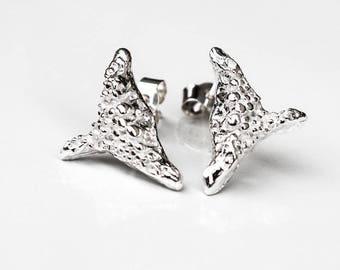 Sterling Silver Stud Earrings, Celtic Good Luck Charm Earrings, Nautical Jewellery, Modern Silver Stud Earrings, Ethical Recycled Silver