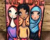 One Love - Aceo print mounted on Wood (2.5 x 3.5)  by Elise Hartmann