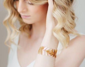 Gold Laurel Boho Bridal Cuff | Leaf Vine Wedding Bracelet | Grecian Bridal Cuff Bracelet [Ariadnê Cuff]