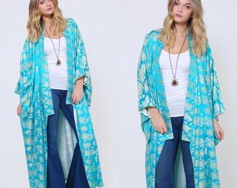 Vintage 60s Blue Kimono Satin BROCADE Floral JAPANESE Kimono Draped Robe Boho Duster