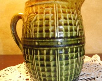 Brush McCoy Barrel Pitcher Stoneware