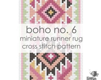 "Digital Download ""Boho No. 6 Dollhouse Floor Runner Rug"" - modern miniature for dollhouse / pdf cross stitch embroidery pattern"