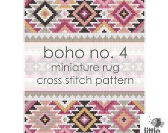 "Digital Download ""Boho No. 4 Dollhouse Floor Rug"" - modern miniature for dollhouse / pdf cross stitch embroidery pattern"