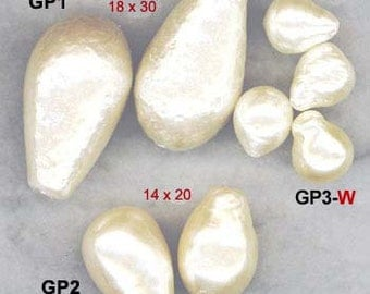 18x30mm JAPANESE BAROQUE GLASS Pearls for Necklaces, Bracelets 1 Drop