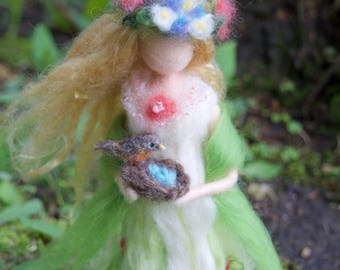 Spring Goddess, Needle felted, with Robin nest and eggs, Custom