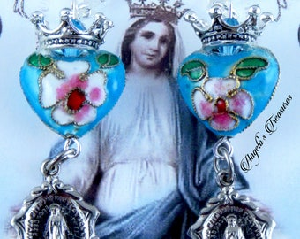 Catholic Virgin Mary Our Lady of Miraculous Medal Vintage Religious Medals Handmade Earrings with Cloisonne Hearts