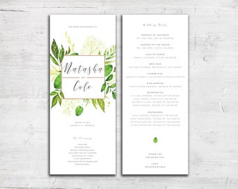 Greenery Design Wedding Program - Tea Length Wedding Program - Floral Wedding Program - Garden Wedding Program - Outdoor Wedding Program