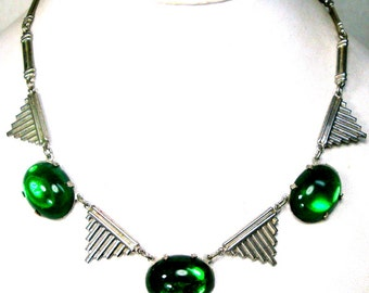 Art Deco Silver and Green Stone Bib Chain Necklace, 1920s Emerald Glass Jelly Belly Jewels , Used, Slightly Shabby Gone With The Wind