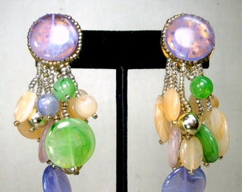 Pastel Long Clip Earrings, 1980s Beaded Fringed Dangles In Lavender, Baby Pink & Jade Green, Faux Semi-Precious Stone Colors