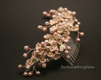 Wedding Hair Comb in Rose Gold and Blush Pink, Vintage Forget Me Not Blush Pink Floral Comb with Pearls Vintage Wedding Hair Accessory