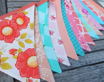 Pink, Peach, Coral, Aqua Bunting Banner - EXTRA LONG, 10ft of Party Fabric Flags -- Wedding, Shower, Birthday Decoration -- Vintage, Florals