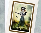 Magpie Greeting Card - Girl & Magpie - One For Sorrow
