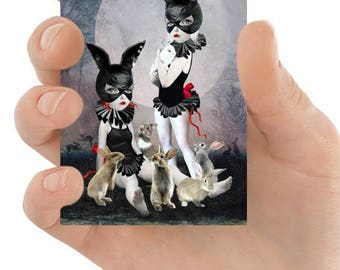 Rabbit Girls ACEO Card - Miniature Art - Rabbits ACEO Card - Girls & Rabbits - Lowbrow Art - Rabbit Rendezvous