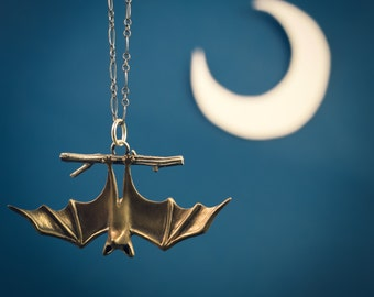Awake Bat Necklace, Handmade Bat Pendant Ready for Adventure in Silver, and Bronze