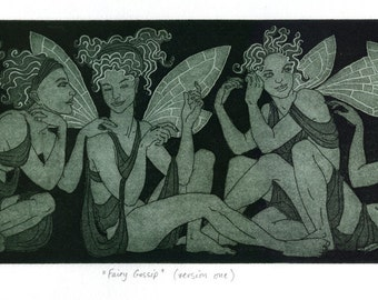 "Etching print - ""Fairy Gossip"" - original art by Nancy Farmer, UK. Green/black monochrome print. Classical female, draped nudes."