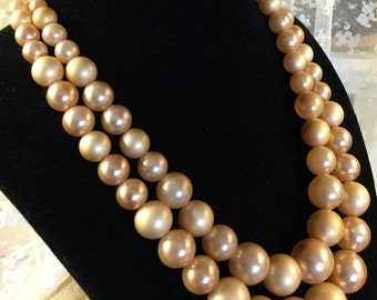 Very Nice Double Stranded Necklace of Light Brown Graduated Lucite Beads Goldtone