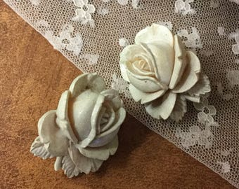 Very Large Carved Celluloid Rose Flower Earrings Clip On Unsigned 1940's 1950's White Off White Rose Bud Feminine Woman