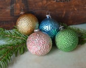 4 Antique Miniature Bumpy Glass Feather Tree Christmas Ornaments
