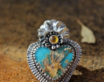 Plume Agate and Turquoise Sacred Heart Ring.