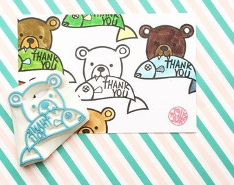thank you rubber stamp. bear hand carved stamp. woodland wildlife stamp. bear with his fish stamp. birthday baby shower thank you card diy