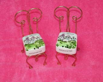 Vintage 1970's Mt. Rainier, Washington Souvenir Ice Cream Chairs Salt & Pepper Shaker Set