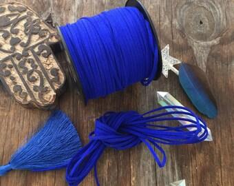 Dazzling Blue Faux Suede Leather Cord, 15 feet bundle (5 yards) / Microfiber, Vegan Suede, DIY Cord Supplies, Faux Suede Cord, Supplies