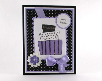 Birthday cards for her, girls birthday cards, purple birthday cards, happy birthday, birthday cake, womens birthday