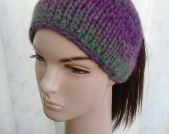 STASERA shades of evening purple grey green soft wool bandana cap headband by irish granny