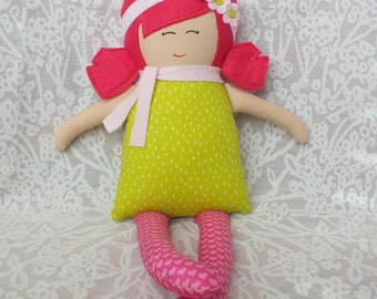 Rag doll, handmade doll, cloth doll, soft doll, doll, baby doll, gift for a girl, valentines day, hearts, pink hair, green dress, soft, cute