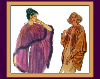Vintage 1980s-GLAMOROUS EVENING WRAPS-Vogue Sewing Pattern-4 Styles-Cocoon Drape Jacket-Marabou Fur Trim Cover-Up-Lacey Shawl- Pullover-Rare