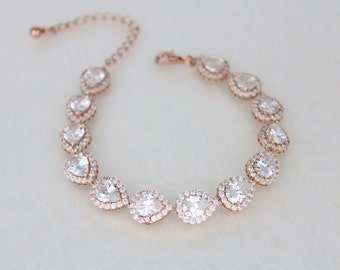 Rose Gold bracelet, Bridal bracelet, Crystal bracelet, Wedding jewelry, Bridesmaid bracelet, Swarovski bracelet, Bridal jewelry, Teardrop