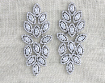 Crystal Bridal Earrings, Wedding jewelry, Chandelier Wedding earrings, Statement earrings, Leaf earrings, CZ earrings, Swarovski, SCARLETT