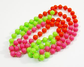 Vintage Neon Necklace, 80s Long Bead Necklace, Neon Pink Red Green Opera Length Summer Necklace, Single Strand Wrap Necklace