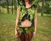 Felt Melted Hoodie-Pixie Vest-Absinthe Fairy-Druid Costume-Woodland Costume-Felt vest-Hooded Vest-Nymph Top-Elven Wear-Festival Wear OOAK