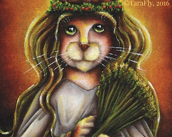 Calico Cat Santa Lucia, Saint Lucy Cat, Christmas Holiday 5x7 Fine Art Print