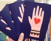 Mano cards (pack of 4) // Christmas cards // Peace and Love // Love message // Love token // heart and hand // Folk Card