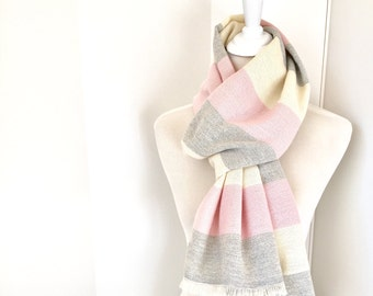 "Cashmere Scarf 20"" x 80"" with Merino Pink Gray White Border Stripe 20"" x 80"" Handwoven Scarf"