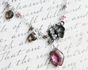 Pink Topaz Necklace, Cherry Blossom Necklace, Smoky Quartz, Sterling Silver - Sakura by Circe's House on Etsy