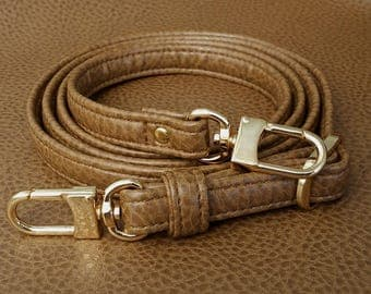 """TAN Premium Faux Leather Purse Strap - 1/2"""" Wide - Gold or Nickel #16LG Hooks - Choose Adjustable Length"""