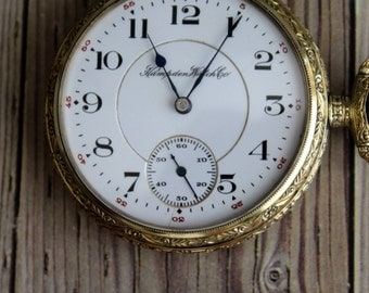Antique Hampton Gold Filled 1912 Pocket Watch by avintageobsession on etsy  FREE USA Shipping