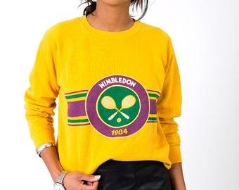 The Vintage 50/50 Yellow Wimbledon 1984 Tennis Crewneck Pullover