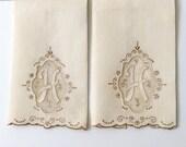 2 Irish Linen Hand Towels Monogram H Appliqué Embroidery