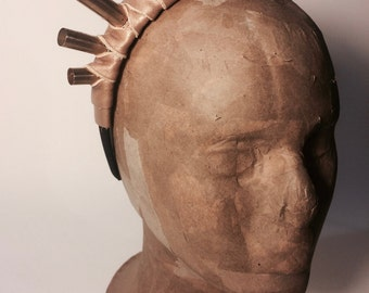 Tan Leather Wrapped Bullet Shell Headpiece