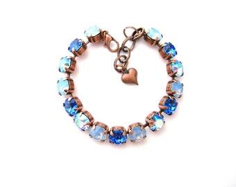 Swarovski Crystal Rhinestone Air Blue Opal Sapphire Lt. Sapphire AB Tennis Bracelet, Big Stone Looks, Rhinestone Bracelet, Copper