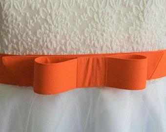 wide bow belt - Orange belt,  fabric belt -  wide belt - wide belt - plus size - 2 inch wide